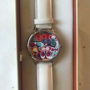 Coach Patent Leather Watch with colorful C face